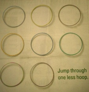 Ad in a business magazine featuring hula hoops