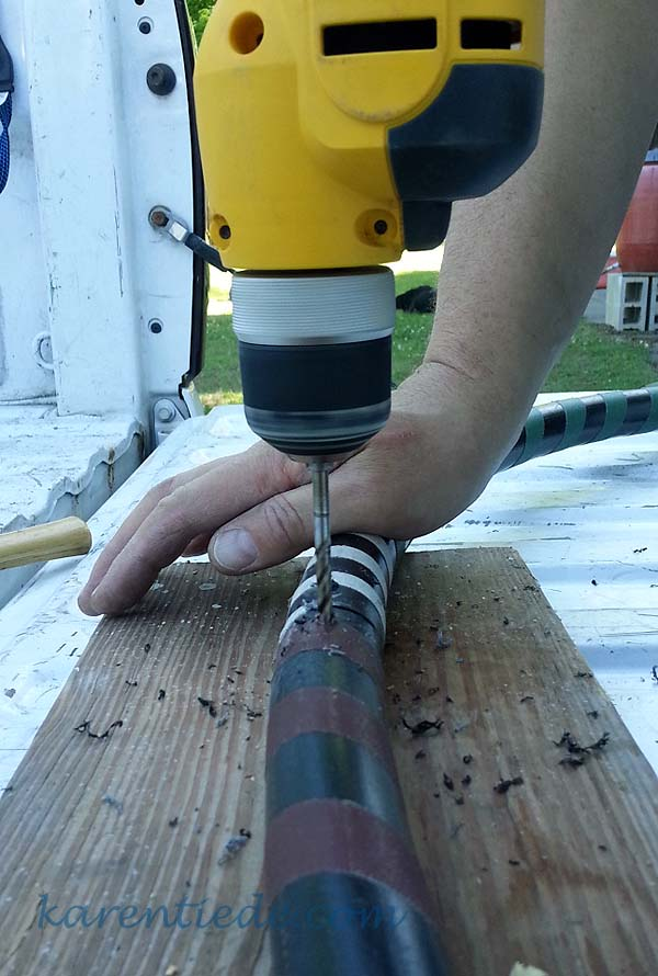 Drill holes for the peg, through the hooping material and the connector.