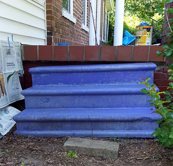 The concrete steps after the coat of purple concrete stain.