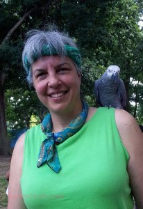 Me with Calliope, an African Gray parrot who spent the day at Herman Park.