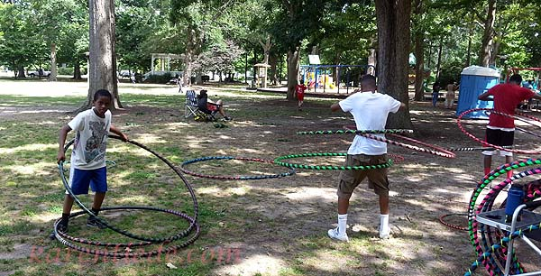 Panorama image of people hooping at Herman Park.
