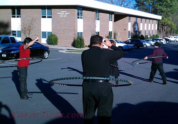 Hooping in the parking lot of the Team Nimbus Center, 3801 Computer Drive #101, Raleigh.