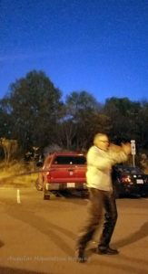 John the Motorcycle Man hooped the big hoop, in leathers.