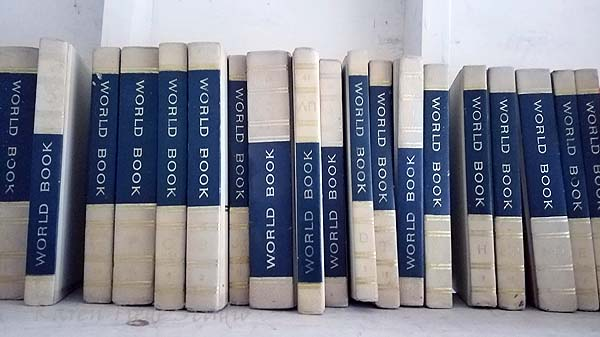 World Book Encyclopedia, at the swap shed